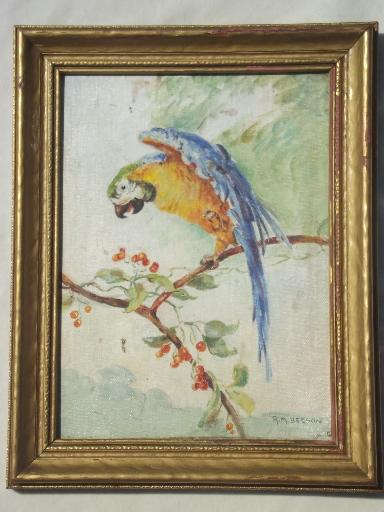 Vintage Oil On Board Painting Parrot Picture In Antique