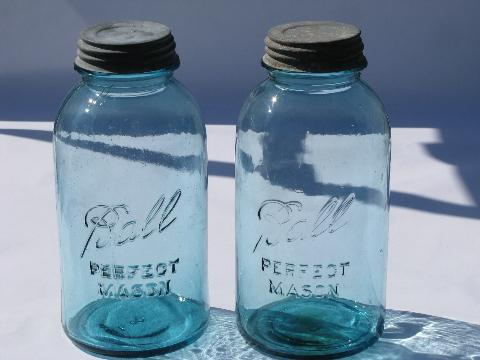 vintage old 2 qt blue Ball Perfect Mason glass canning jars for storage canisters