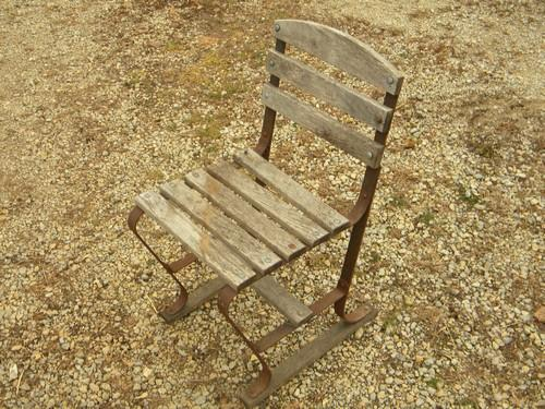 vintage old wood & iron deck or garden patio chair, riveted construction
