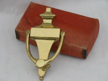 vintage old-new-stock architectural door knocker, solid brass