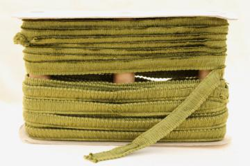 vintage olive green cotton / rayon lampshade or upholstery trim, new old stock bullion braid