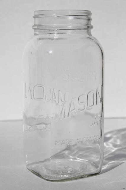 Vintage One Quart Square Clear Glass Mason Jar Marked Made