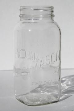 vintage one quart square clear glass Mason jar marked Made in Canada