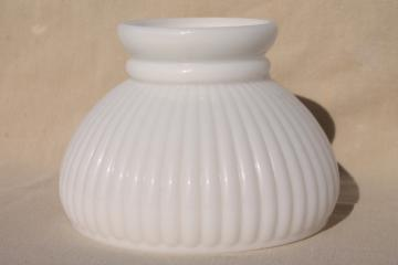 vintage opaline milk glass lampshade, ribbed glass shade for mini lamp or student desk light