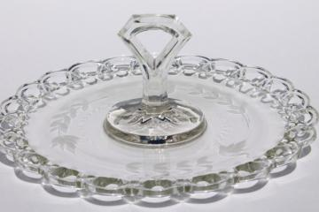 vintage open lace edge glass plate w/ center handle, elegant etched glass sandwich / cake tray