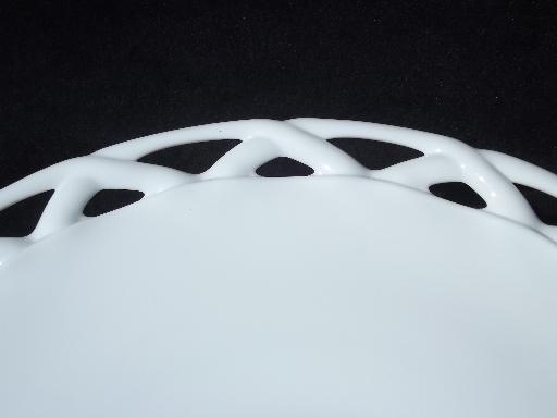 vintage open lace edge milk glass cake stand footed pedestal plate