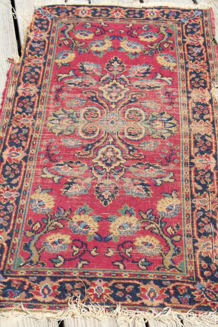 Vintage Or Antique Persian Rugs Small Shabby Wool Carpets To Layer Upcycle