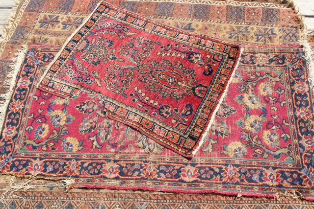 vintage or antique persian rugs small shabby wool carpets to layer or upcycle