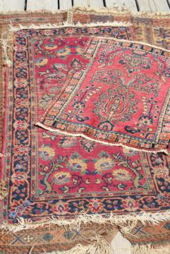 vintage or antique persian rugs, small shabby wool carpets to layer or upcycle