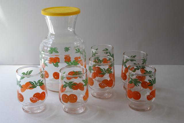 vintage orange juice set, juice glasses & refrigerator bottle w/ oranges print