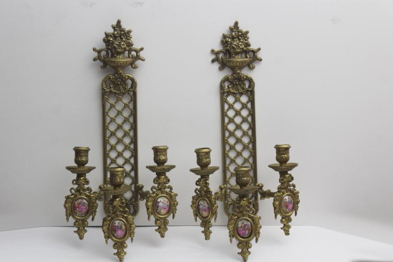vintage ornate brass candle sconces w/ china cameo pictures, romantic french country scenes