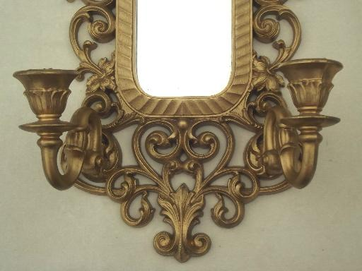 vintage ornate gold  Syroco style plastic frame mirror w/ candle sconces