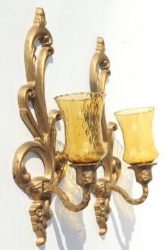 vintage ornate gold metal candle sconces w/ amber glass candle holder shades