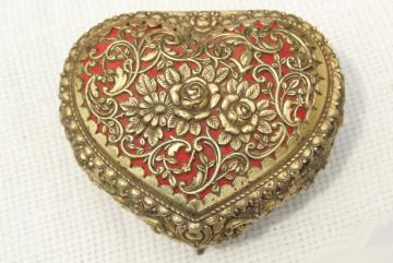 vintage ornate gold metal filigree heart shaped trinket box w/ wind-up music box