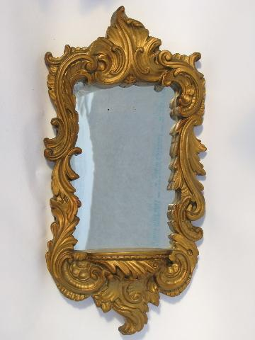 Vintage Ornate Gold Plaster Wall Niche Mirror Florentine