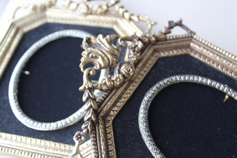vintage ornate gold plastic / black velvet frames, picture frame trio for photos or prints