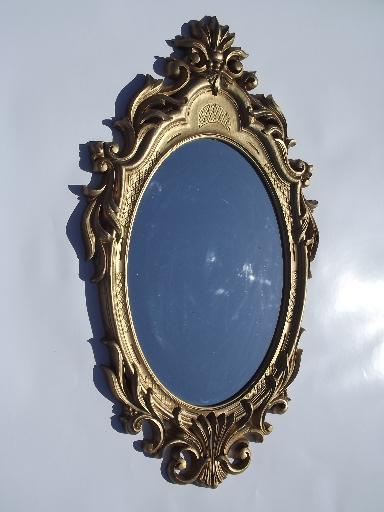 Vintage Ornate Gold Plastic Frame Mirror Fit For A Queen