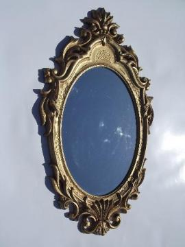 vintage ornate gold plastic frame mirror fit for a queen or fairy princess!