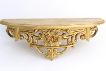 vintage ornate gold rococo bracket shelf, small wall mount hanging shelf