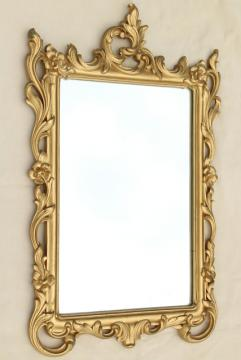 vintage ornate gold rococo wall mirror, Syrowood Syroco pressed wood frame