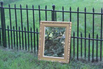 vintage ornate gold wood mirror, Italian Florentine style gilt finish rectangular frame