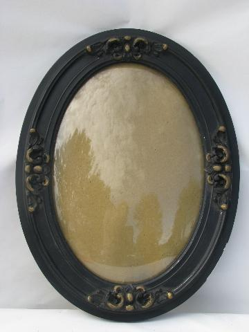 vintage oval convex bubble curved glass in antique wood w/ ornate ...