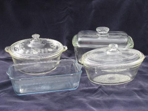 Vintage Oven Glassware Baking Glass Pans Lot Fire King