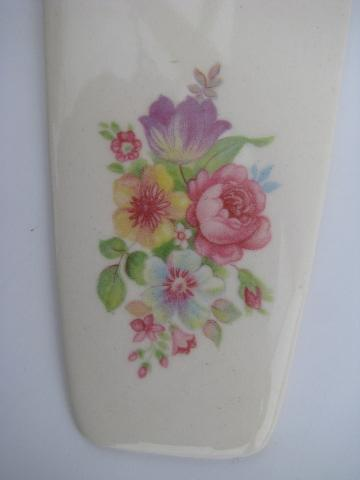vintage oven proof china, pottery cake or pie server, pink roses bouquet