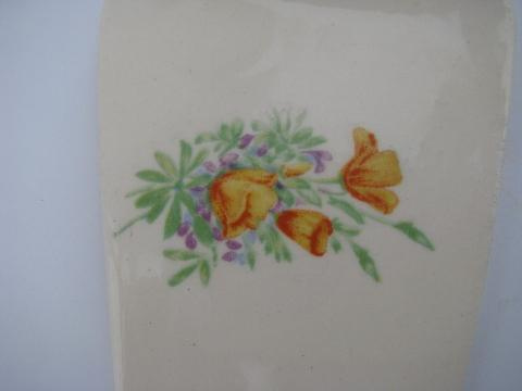 vintage oven proof china, pottery cake or pie server, yellow tulips