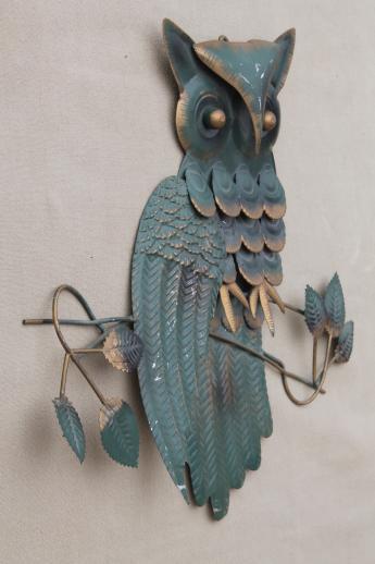 Metal Owl Wall Decor owl plaques, retro 70s metal wall art for rustic woodland decor