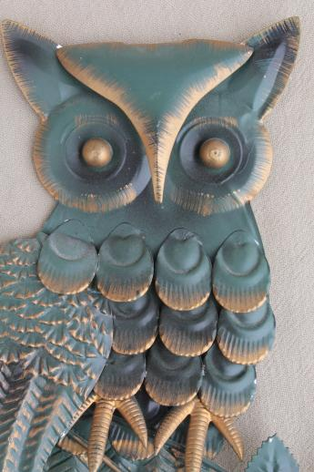 Vintage Owl Plaques Retro 70s Metal Wall Art For Rustic