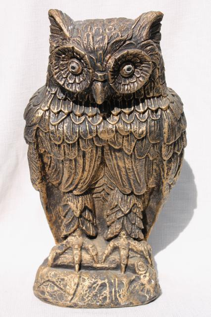 Vintage Owl Statue Large Chalkware Figure W Old Gold