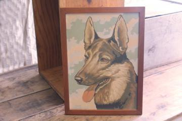 vintage paint by number painting, picture of German Shepherd dog, Rin Tin Tin?