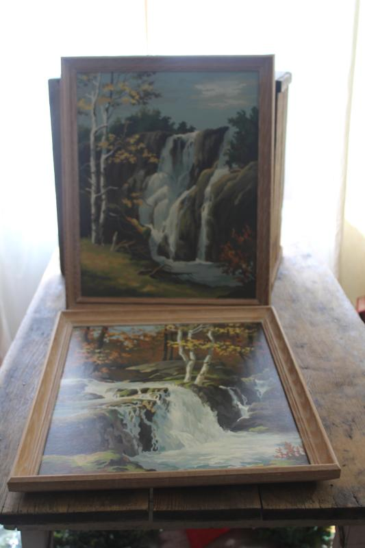 vintage paint by number picture paintings, rocky waterfall landscape scenes