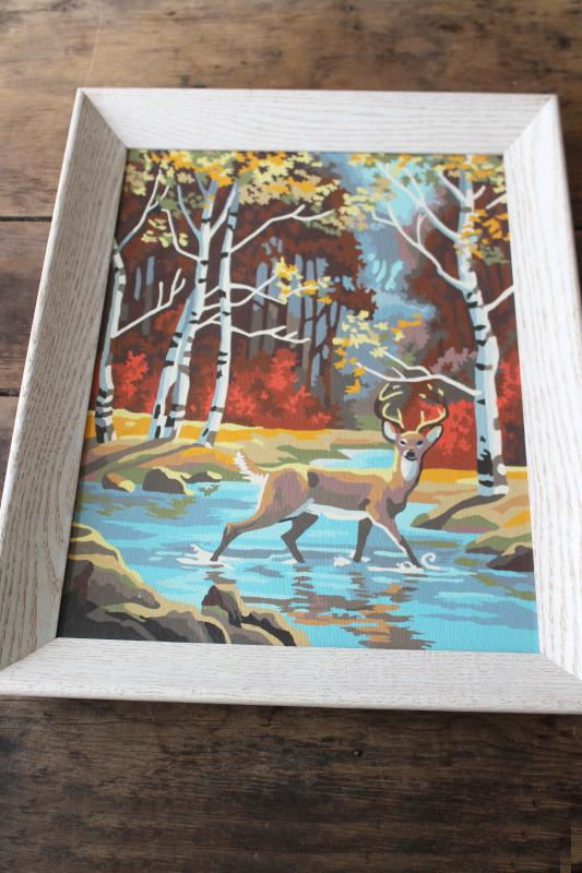vintage paint by number picture, woodland deer autumn woods PBN painting framed