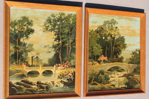 vintage paint by number pictures, french ruins garden ...