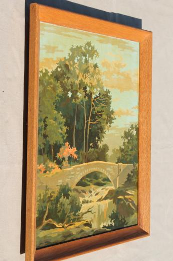 vintage paint by number pictures, french ruins garden bridge landscape paintings