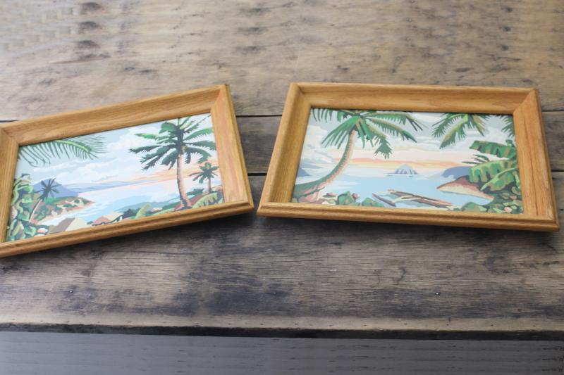 vintage paint by number pictures, retro tiki style tropical island beach scenes