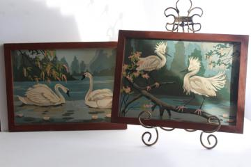 vintage paint by number pictures, white egrets & swans w/ flowering trees, Everglades scenes?