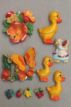 vintage painted chalkware plaques, retro kitchen wall art lot, bright fruit, ducks in a row etc.