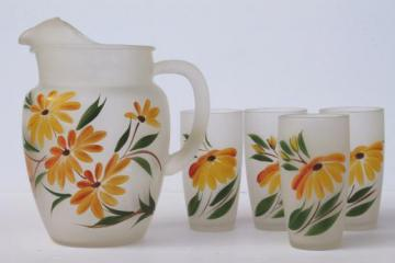 vintage painted glass pitcher & tumblers set, drinking glasses & lemonade pitcher