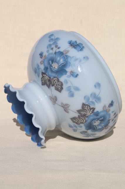 Vintage Painted Glass Shade W Blue Roses Replacement