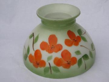 vintage painted poppies student lamp replacement milk glass light shade