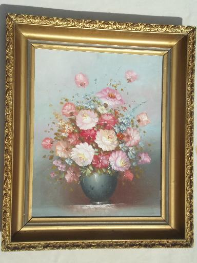 Vintage Painting On Canvas Shabby Chic Floral In Large