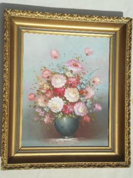vintage painting on canvas shabby chic floral in large antique gold frame