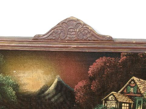 vintage paintings on velvet, old wood frames w/ crown molding, faux graining