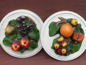 vintage pair 40's chalkware fruit wall plaques