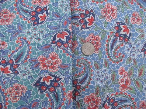 vintage paisley print cotton quilt, feather bed tick, or duvet covers