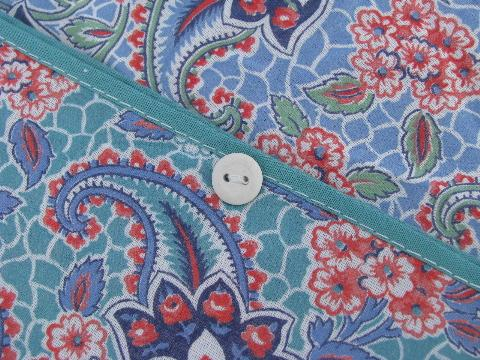 Vintage Paisley Print Cotton Quilt Feather Bed Tick Or