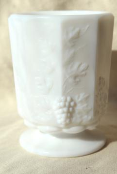 vintage paneled grape pattern milk glass spooner or celery vase, small open sugar bowl